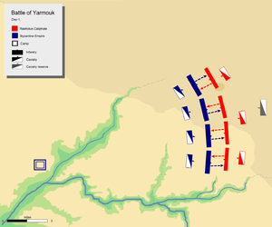 Battle of Yarmouk - Day 1, limited attacks by the Byzantine army
