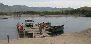 Transport in Mongolia - Cable ferry across the Selenge river, in Khövsgöl aimag