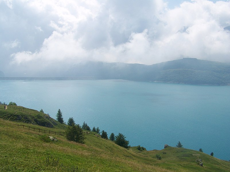 "Sight of lac du Mont-Cenis lake in eastern Savoie (France) and close to the Italian border. Here can be seen the ""retours d'est"" phenomemon in which clouds and rain come from Italy by the east."
