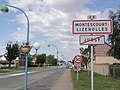 Montescourt-Lizerolles (Aisne) city limit sign, coming from Jussy.JPG