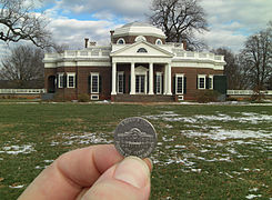 Monticello Facade And Its Reproduction On A Nickel