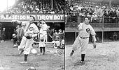 "Two images spliced together: both images feature the same man in a white baseball uniform and dark baseball cap following through after throwing a baseball. The left uniform has a dark collar and strip down the center of the shirt with ""CUBS"" over the left breast, and the right uniform features a dark pointed and elongated ""C"" with the silhouette of a bear inside it."