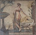 Mosaic depicting Leda and the Swan, once the central panel (emblema) of a mosaic floor discovered in the vicinity of the Sanctuary of Aphrodite at Palaipafos, late 2nd - early 3rd century AD, Palaepaphos Museum, Cyprus (22445196132).jpg