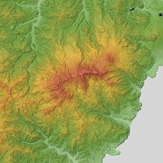 Mount Amagi - Relief Map of Amagi Volcano.