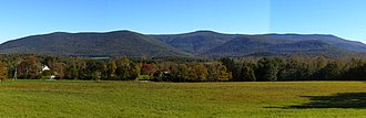 Williamstown, Massachusetts - The Mount Greylock Range is the dominant geographic feature, best seen from the west in South Williamstown.