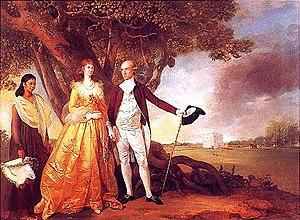 Warren Hastings - Warren Hastings with his wife Marian in their garden at Alipore, c. 1784–87