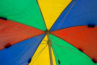 Multicolored beach umbrella, Mahamaya Lake (02).jpg