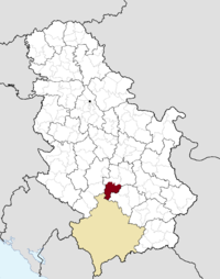 Location of the municipality of Brus within Serbia