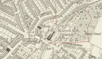 Muswell Hill railway station - Muswell Hill station on a 1920 map