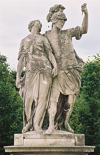 Lucretia (gens) - Lucius Junius Brutus supporting the body of Lucretia Statue at Schönbrunn Palace, Vienna