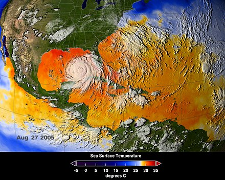 Average sea surface temperatures for the Caribbean Atlantic Ocean (25-27 August 2005). Hurricane Katrina is seen just above Cuba. NASA ASMR-E image of average SSTs of Hurricane Katrina.jpg