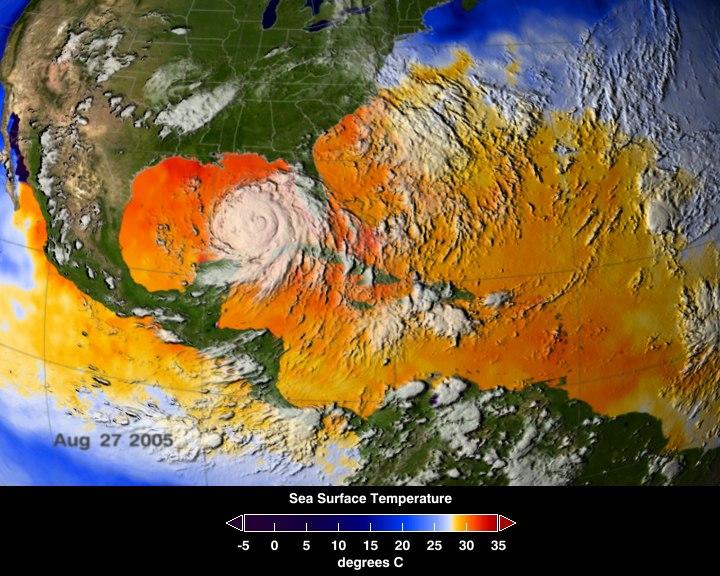NASA ASMR-E image of average SSTs of Hurricane Katrina