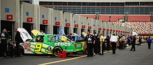 Camping World Truck Series - A Truck Series garage at Lowe's Motor Speedway in 2008