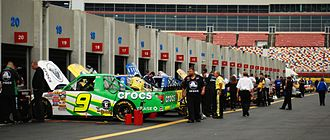 NASCAR Gander Outdoors Truck Series - A Truck Series garage at Lowe's Motor Speedway in 2008