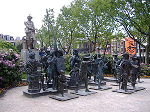 Rembrandtplein - The sculptures of the Night Watch in 3D at the Rembrandtplein in Amsterdam in 2006-2009