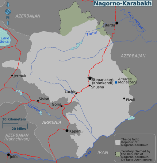 Nagorno-Karabakh regions map