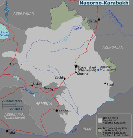 Nagorno-Karabakh regions map