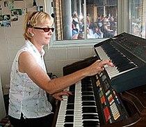 Nancy Faust in Cellular Field organ booth 2010-09-27 3.jpg