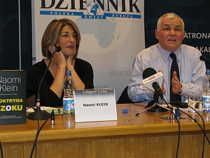 Jan Krzysztof Bielecki - Bielecki during a debate with Canadian left-wing social activist and writer Naomi Klein in Warsaw, 2008.