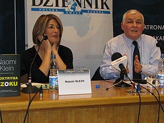Jan Krzysztof Bielecki - Bielecki during a debate with Canadian left-wing social activist and writer Naomi Klein in Warsaw, 2008.