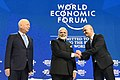 Narendra Modi with the President of the Swiss Confederation, Mr. Alain Berset and the Chairman of the World Economic Forum, Professor Klaus Schwab, at the plenary session of the World Economic Forum, in Davos.jpg
