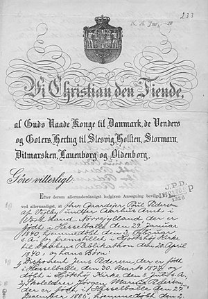 Name change - Name change certificate issued by Christian X of Denmark in 1917