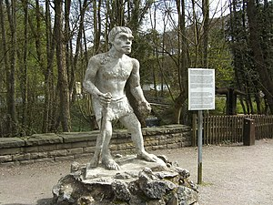 Neanderthal Museum - A reconstructed sculpture Neanderthal man made in 1928 on display in the museum grounds.