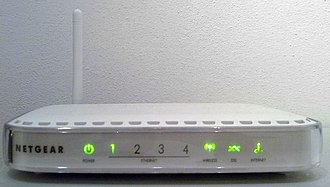 Netgear DG834 (series) - Netgear DG834G v4, in order: the power LED, the 4 Ethernet cable detection LEDs, the wireless power state and activity, the carrier wave LED (off/on) and the PPP LED (off, on, blinking when there's activity)