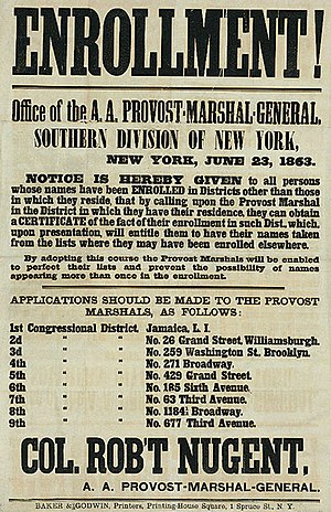 Enrollment Act - Image: New York enrollment poster june 23 1863
