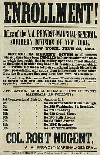 New York City draft riots - Recruiting poster for the Enrollment Act or Civil War Military Draft Act of the federal government for the conscription of troops for the Union Army in New York City on June 23, 1863