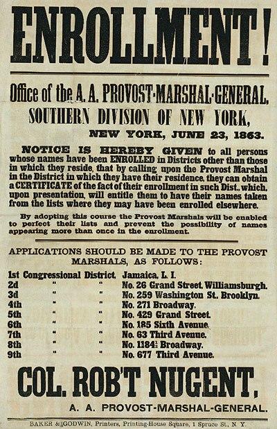 New York enrollment poster june 23 1863