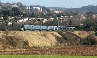 Great Western Railway (train operating company) - A pair of five-car Class 800s approaching Bath from Bristol