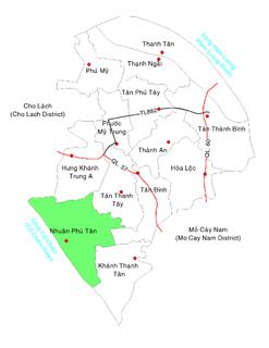 Nhuận Phú Tân Commune and village in Mekong Delta, Vietnam