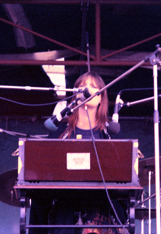 Nico - Nico playing harmonium at Free Concert, Hyde Park, 29 June 1974