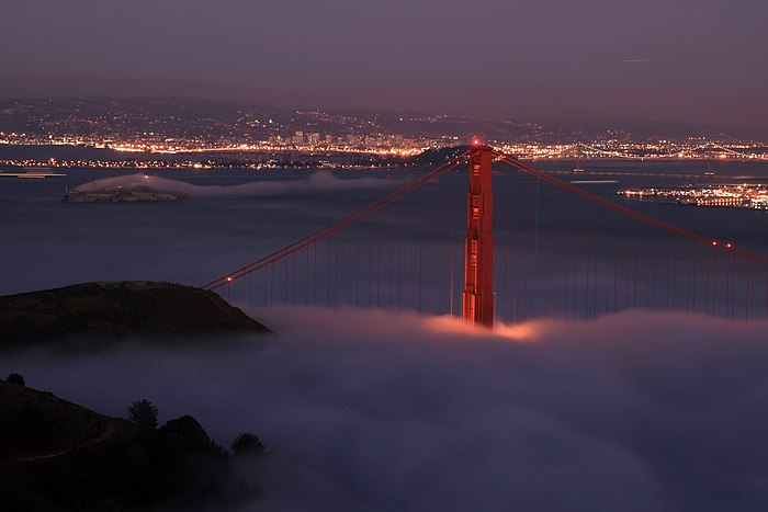 the golden gate bridge at night. Golden Gate Bridge,San