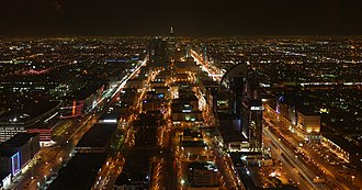 Riyadh - Panoramic night view of Riyadh from Kingdom Centre