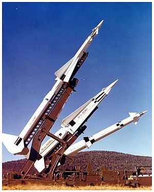 Nike-X - The Nike missile family included Ajax (front), Hercules (middle), and Zeus (rear).