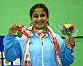 Nikki (India) winner of Gold Medal in 75kg Women's wrestling, during the presentation ceremony, at the 12th South Asian Games-2016, in Guwahati on February 08, 2016.jpg