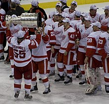 61917cfa Niklas Kronwall handing over the Stanley Cup after defeating the Pittsburgh  Penguins in the 2008 Stanley Cup Finals.