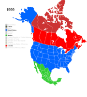 Map showing Non-Native American Nations Control over N America c. 1999