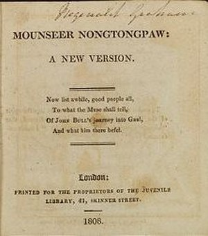 Mounseer Nongtongpaw - Title page from the 1808 edition of Mounseer Nongtongpaw