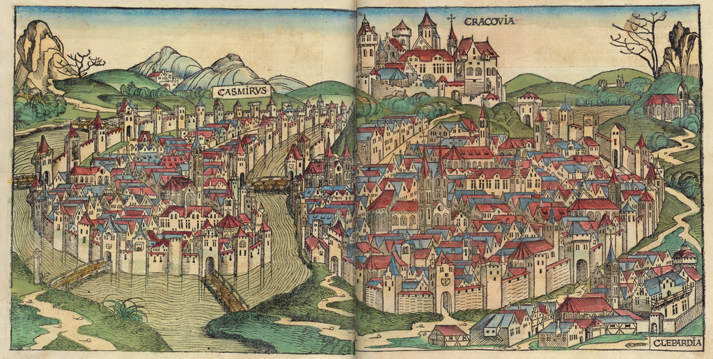 Illustration de Cracovie en 1493 avec Kazimierz ou Casimirus à gauche.