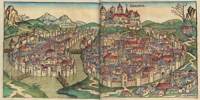 Cracovie en 1493, la ville alors indépendante de Kazimierz à gauche entouré par la Wisla. Le bras mort du centre est asséché aujourd'hui.
