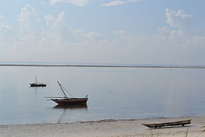 Nyali Beach from the Reef Hotel during high tide and still conditions in Mombasa, Kenya 2.jpg