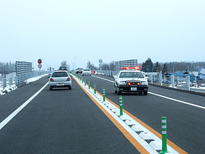 Two-lane expressway - two-lane expressway in Obihiro, Hokkaido, Japan