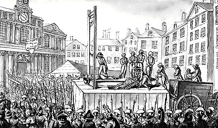 Nine emigres are executed by guillotine, 1793 Octobre 1793, supplice de 9 emigres.jpg