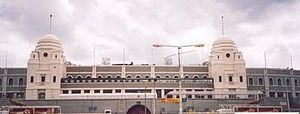 1985 Football League Trophy Final - Image: Old Wembley Stadium (external view)
