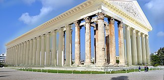 Temple of Olympian Zeus, Athens - Likely appearance of the Olympieion in 129 AD from the SE, showing the surviving columns and fragments of the entablature.