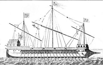 Battle of Lepanto - One of the Venetian Galleasses at Lepanto (1851 drawing, after a 1570s painting).