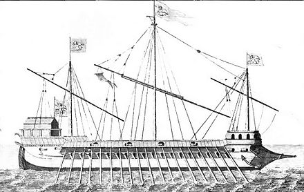 One of the Venetian Galleasses at Lepanto (1851 drawing, after a 1570s painting). One of the Venetian Galleasses at Lepanto - Pg 74.jpg